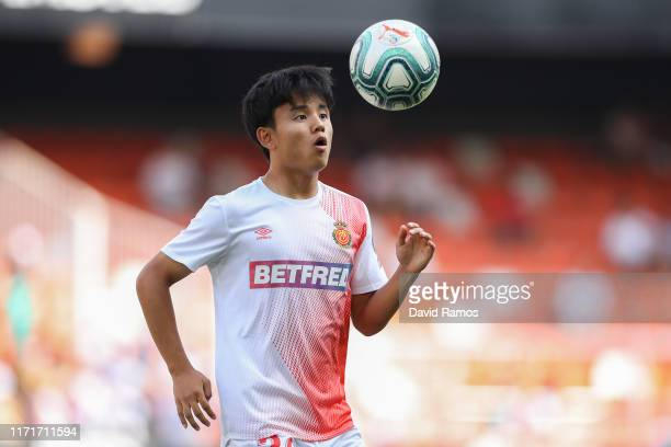 Takefusa 'Take' Kubo of Mallorca FC in action during the warm up prior to the Liga match between Valencia CF and RCD Mallorca at Estadio Mestalla on...