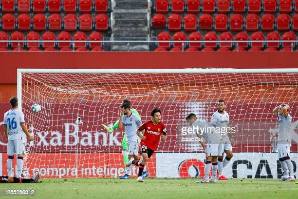 Takefusa 'Take' Kubo of RCD Mallorca celebrates after scoring his team's second goal during the Liga match between RCD Mallorca and Levante UD at...