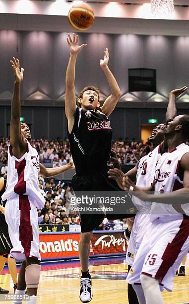 Takehiko Orimo of Japan shoots against Qatar during the 2007 FIBA Asia Championship game at Asty Tokushima on August 05 2007 in Tokushima Japan