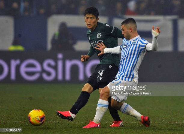 Takehior Tomiyasu of Bologna FC in action during the Serie A match between SPAL and Bologna FC at Stadio Paolo Mazza on January 25, 2020 in Ferrara,...