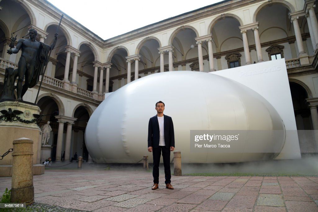 Takehiro Ikeda, Panasonic Designs new Creative Director, poses in front the installation 'Transitions by Panasonic Design' at the Pinacoteca di Brera is displayed for Panasonic 100th aniversary during the Milan Design Week on April 16, 2018 in Milan, Italy.