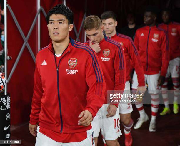 Takehiro Tomiyasu of Arsenal before the Premier League match between Arsenal and Crystal Palace at Emirates Stadium on October 18, 2021 in London,...