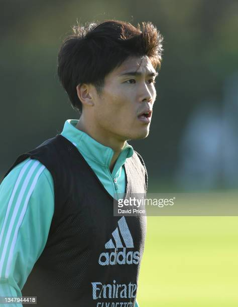 Takehiro Tomiyasu of Arsenal during the Arsenal 1st team training session at London Colney on October 21, 2021 in St Albans, England.