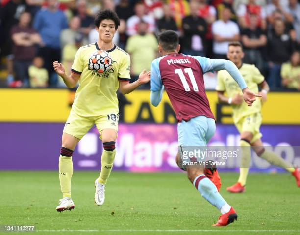 Takehiro Tomiyasu of Arsenal during the Premier League match between Burnley and Arsenal at Turf Moor on September 18, 2021 in Burnley, England.