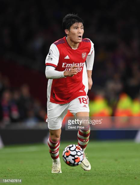 Takehiro Tomiyasu of Arsenal during the Premier League match between Arsenal and Crystal Palace at Emirates Stadium on October 18, 2021 in London,...