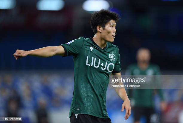 Takehiro Tomiyasu of Bologna FC during the Serie A match between SSC Napoli and Bologna FC at Stadio San Paolo on December 01 2019 in Naples Italy