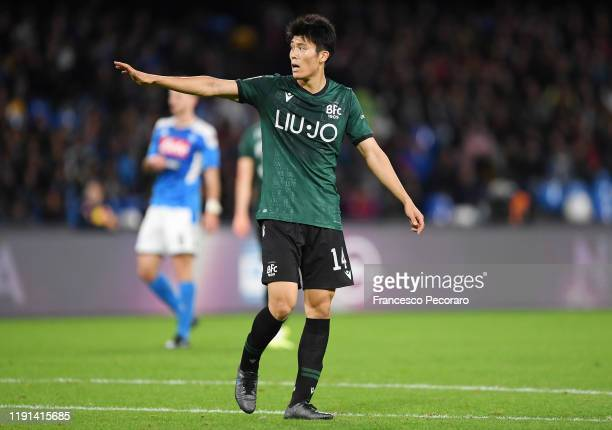 Takehiro Tomiyasu of Bologna FC during the Serie A match between SSC Napoli and Bologna FC at Stadio San Paolo on December 01, 2019 in Naples, Italy.
