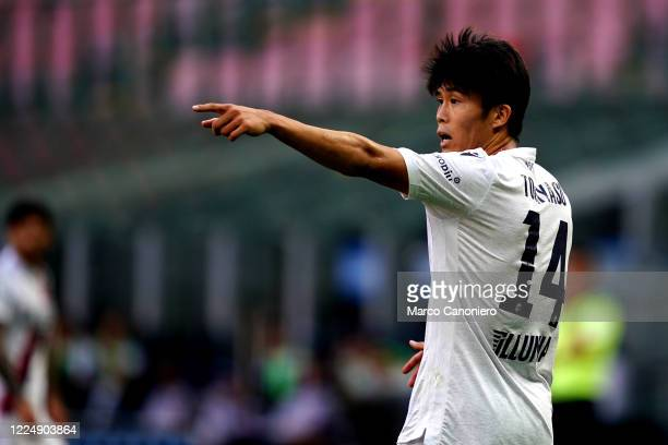 Takehiro Tomiyasu of Bologna Fc gestures during the Serie A match between Internazionale Fc and Bologna Fc. Bologna Fc wins 2-1 over Internazionale...