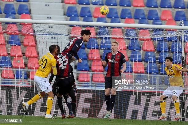Takehiro Tomiyasu of Bologna FC heads the ball during the Serie A match between Bologna FC and Udinese Calcio at Stadio Renato Dall'Ara on January...