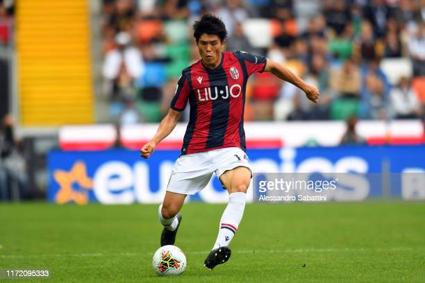 Takehiro Tomiyasu of Bologna FC in action during the Serie A match between Udinese Calcio and Bologna FC at Stadio Friuli on September 29 2019 in...