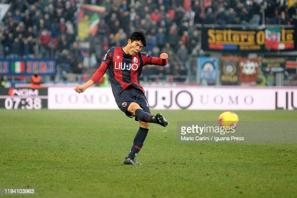 Takehiro Tomiyasu of Bologna FC in action during the Serie A match between Bologna FC and Atalanta BC at Stadio Renato Dall'Ara on December 15, 2019...