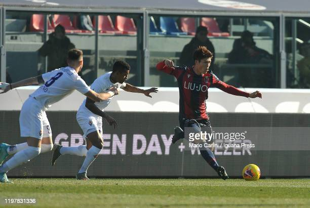 Takehiro Tomiyasu of Bologna FC in action during the Serie A match between Bologna FC and ACF Fiorentina at Stadio Renato Dall'Ara on January 06 2020...