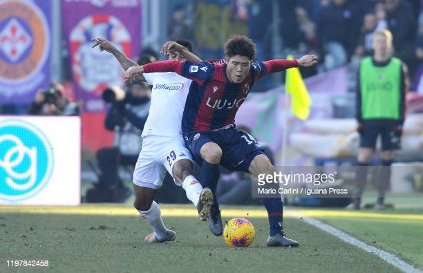 Takehiro Tomiyasu of Bologna FC in action during the Serie A match between Bologna FC and ACF Fiorentina at Stadio Renato Dall'Ara on January 06,...