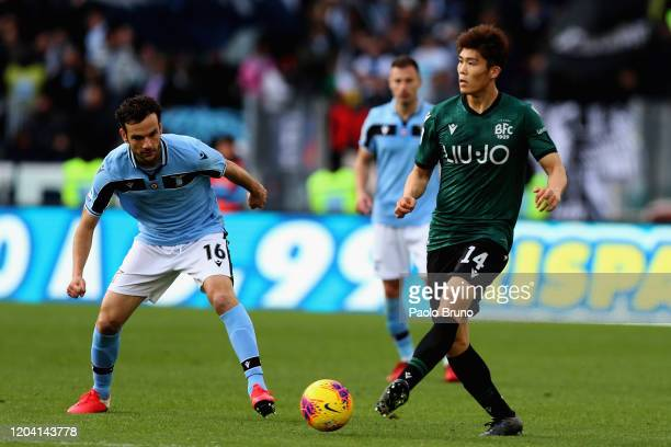 Takehiro Tomiyasu of Bologna FC in action during the Serie A match between SS Lazio and Bologna FC at Stadio Olimpico on February 29, 2020 in Rome,...