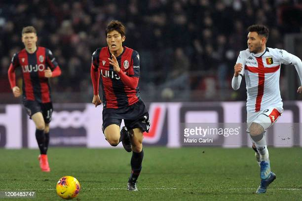 Takehiro Tomiyasu of Bologna FC in action during the Serie A match between Bologna FC and Genoa CFC at Stadio Renato Dall'Ara on February 15, 2020 in...
