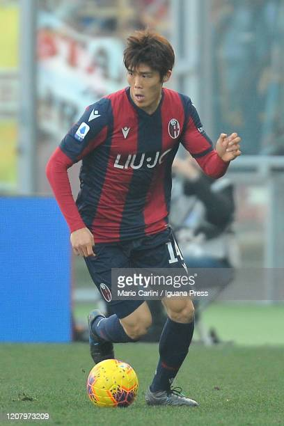 Takehiro Tomiyasu of Bologna FC in action during the Serie A match between Bologna FC and Udinese Calcio at Stadio Renato Dall'Ara on February 22,...