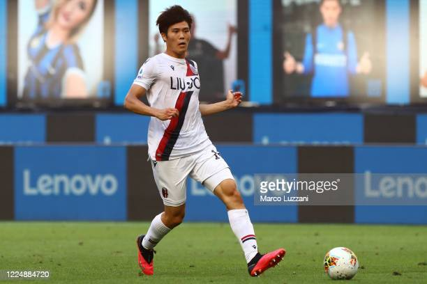 Takehiro Tomiyasu of Bologna FC in action during the Serie A match between FC Internazionale and Bologna FC at Stadio Giuseppe Meazza on July 5, 2020...