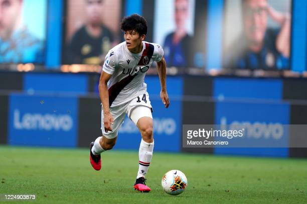 Takehiro Tomiyasu of Bologna Fc in action during the Serie A match between Internazionale Fc and Bologna Fc. Bologna Fc wins 2-1 over Internazionale...