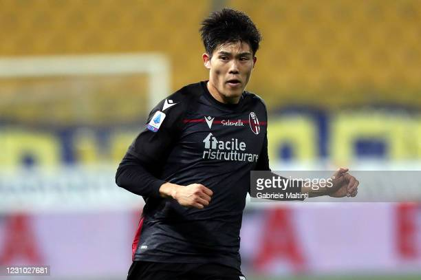 Takehiro Tomiyasu of Bologna FC in action during the Serie A match between Parma Calcio and Bologna FC at Stadio Ennio Tardini on February 7, 2021 in...