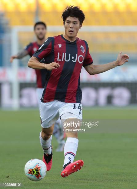 Takehiro Tomiyasu of Bologna FC in action during the Serie A match between Parma Calcio and Bologna FC at Stadio Ennio Tardini on July 12, 2020 in...