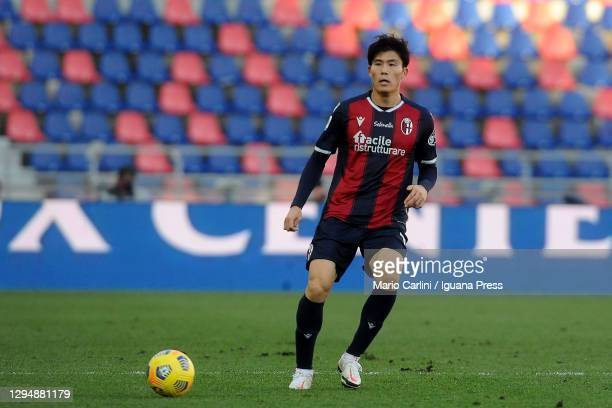 Takehiro Tomiyasu of Bologna FC in action during the Serie A match between Bologna FC and Udinese Calcio at Stadio Renato Dall'Ara on January 06,...