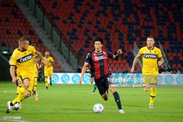 Takehiro Tomiyasu of Bologna FC in actionduring the Serie A match between Bologna FC and Parma Calcio at Stadio Renato Dall'Ara on September 28, 2020...