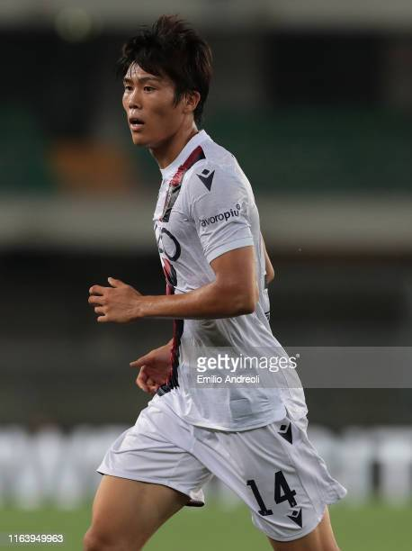 Takehiro Tomiyasu of Bologna FC looks on during the Serie A match between Hellas Verona and Bologna FC at Stadio Marcantonio Bentegodi on August 25...