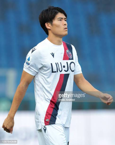 Takehiro Tomiyasu of Bologna FC looks on during the Serie A match between Atalanta BC and Bologna FC at Gewiss Stadium on July 21, 2020 in Bergamo,...