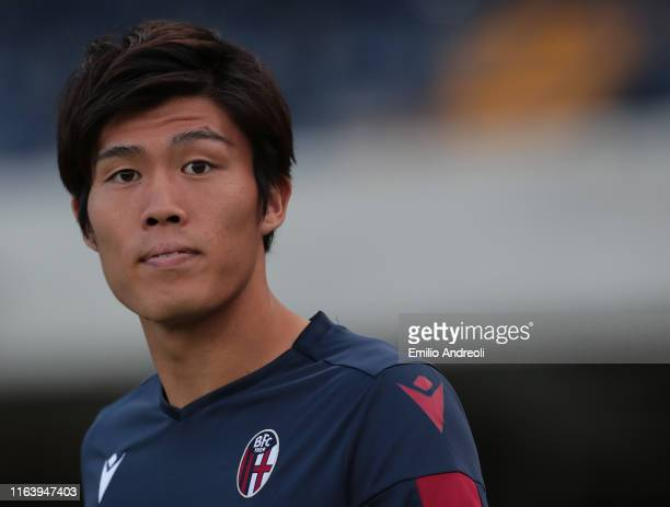 Takehiro Tomiyasu of Bologna FC looks on prior to the Serie A match between Hellas Verona and Bologna FC at Stadio Marcantonio Bentegodi on August 25...