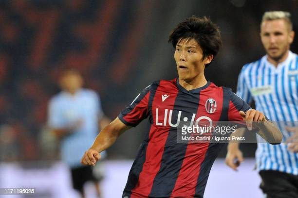 Takehiro Tomiyasu of Bologna FC reacts during the Serie A match between Bologna FC and SPAL at Stadio Renato Dall'Ara on August 30 2019 in Bologna...