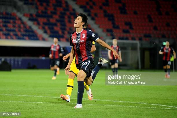 Takehiro Tomiyasu of Bologna FC reacts during the Serie A match between Bologna FC and Parma Calcio at Stadio Renato Dall'Ara on September 28, 2020...