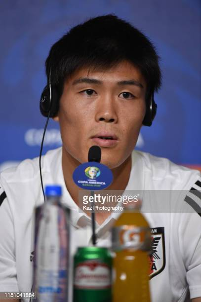 Takehiro Tomiyasu of Japan answer the questions at the press conference ahead of the Copa America Brazil 2019 group C match against Uruguay at Arena...