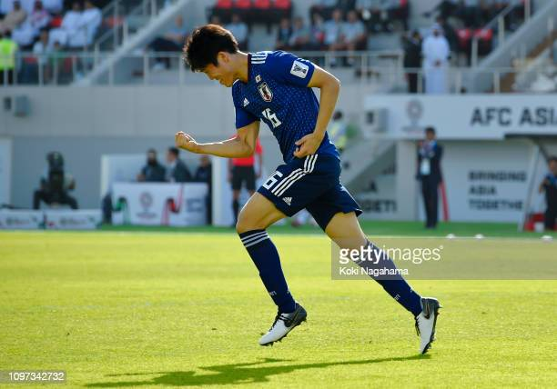 Takehiro Tomiyasu of Japan celebrates after scoring his team's first goal during the AFC Asian Cup round of 16 match between Japan and Saudi Arabia...