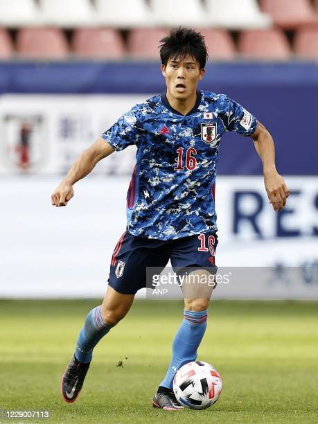 Takehiro Tomiyasu of Japan during the friendly match between Japan and Cameroon at Stadion Galgenwaard on October 09, 2020 in Utrecht, Netherlands....