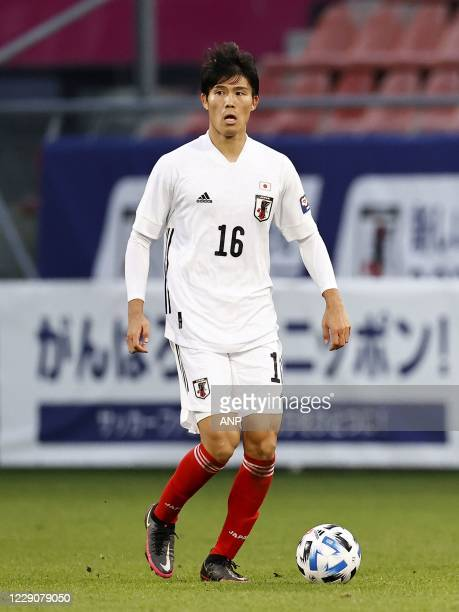 Takehiro Tomiyasu of Japan during the friendly match between Japan and Ivory Coast at Stadion Galgenwaard on October 13, 2020 in Utrecht,...