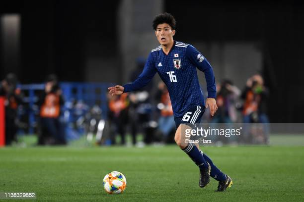 Takehiro Tomiyasu of Japan in action during the international friendly match between Japan and Colombia at Nissan Stadium on March 22 2019 in...