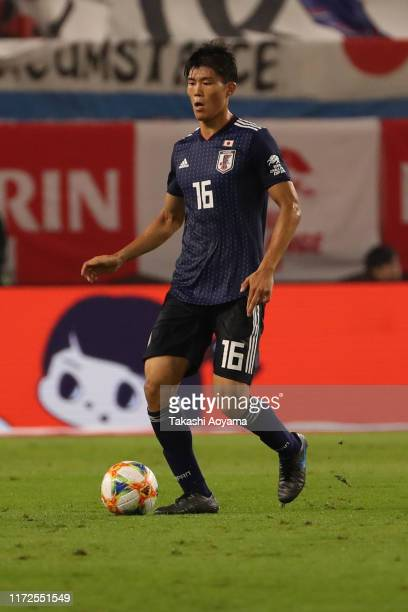 Takehiro Tomiyasu of Japan in action during the international friendly match between Japan and Paraguay at Kashima Soccer Stadium on September 05...