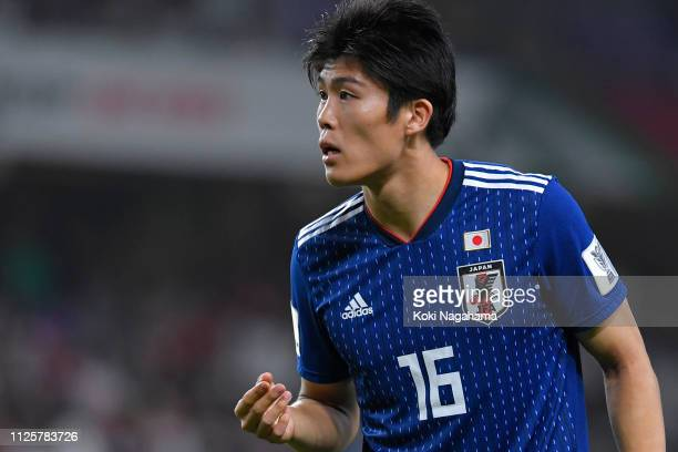 Takehiro Tomiyasu of Japan looks on during the AFC Asian Cup semi final match between Iran and Japan at Hazza Bin Zayed Stadium on January 28 2019 in...