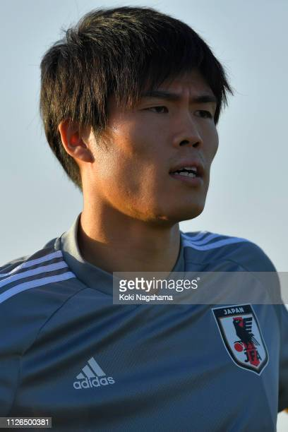 Takehiro Tomiyasu of Japan looks on during the traning session at Cricket training site 2 on January 31 2019 in Abu Dhabi United Arab Emirates