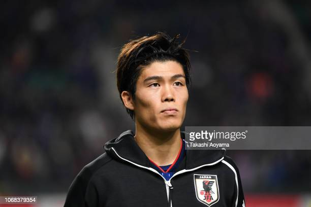 Takehiro Tomiyasu of Japan looks on prior to the international friendly match between Japan and Venezuela at Oita Bank Dome on November 16 2018 in...