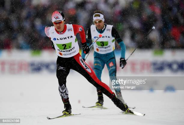 Takehiro Wanatabe of Japan competes in the Men's Nordic Combined Team HS 100 4 x 50km CrossCountry Sprint during the FIS Nordic World Ski...