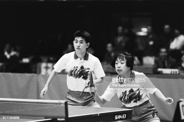 Takehiro Watanabe and Tomoko Ono compete in the Mixed Doubles final against Kiyomi Ishida during the All Japan Table Tennis Championships at the...