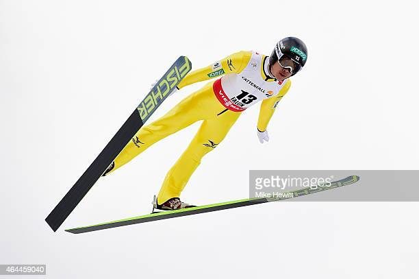 Takehiro Watanabe of Japan competes during the Men's Nordic Combined HS134 Large Hill Ski Jumping during the FIS Nordic World Ski Championships at...