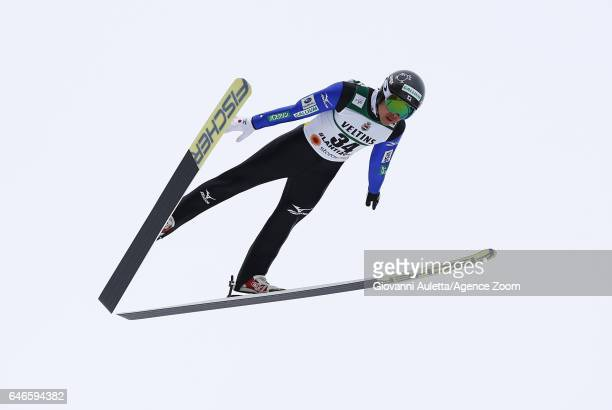 Takehiro Watanabe of Japan competes during the trial jump of the FIS Nordic World Ski Championships Men's Nordic Combined HS130/10k on March 1 2017...