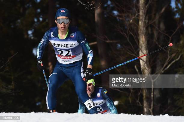 Takehiro Watanabe of Japan competes in the Individual Gundersen LH/10km during day one of the FIS Nordic Combined World Cup Hakuba on February 3 2018...