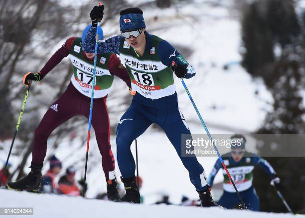 Takehiro Watanabe of Japan competes in the Individual Gundersen LH/10km during day two of the FIS Nordic Combined World Cup Hakuba on February 4 2018...