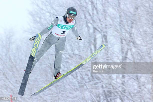 Takehiro Watanabe of Japan competes in the LH Individual Gundersen during day one of FIS Men's Nordic Combined World Cup at Okurayama Ski Jump...
