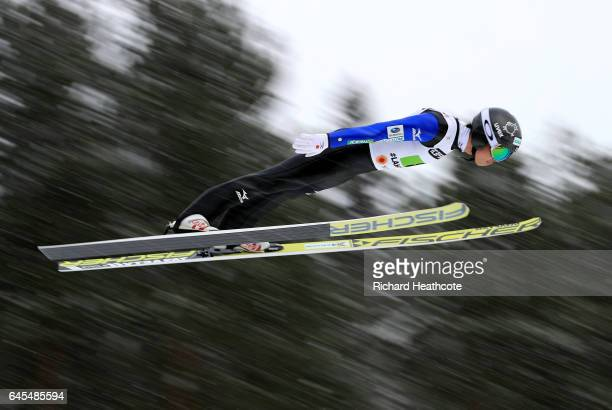 Takehiro Watanabe of Japan competes in the Men's Nordic Combined Team HS100 during the FIS Nordic World Ski Championships on February 26 2017 in...