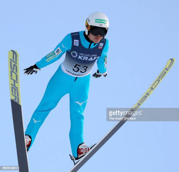 Takehiro Watanabe of Japan competes in the ski jumping of the Men's Gundersen LH HS140/100 K during day two of the FIS Nordic Combined World Cup on...