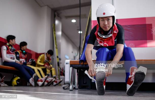 Takehiro Watanabe of Japan prepares for the Nordic Combined official training on February 17 2018 in Pyeongchanggun South Korea